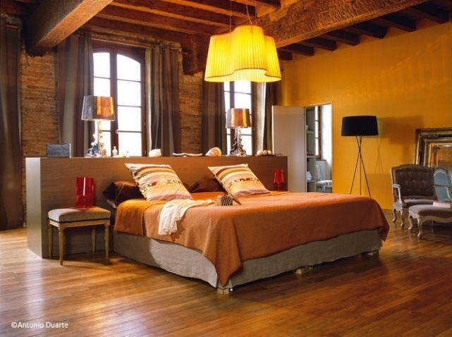 Chambre adulte marron turquoise design d 39 int rieur et for Chambre sans fenetre deco