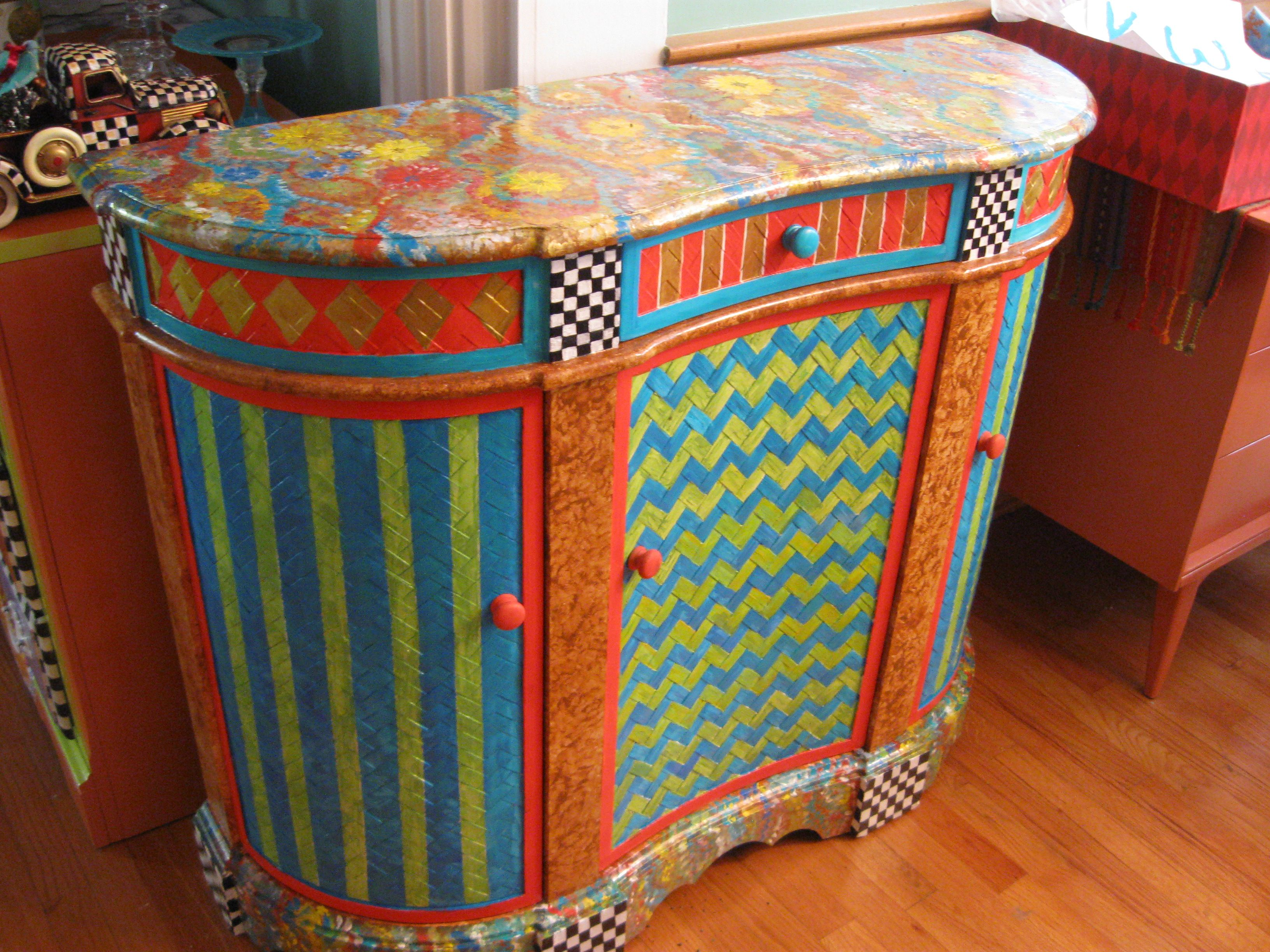 painted credenza whimsical