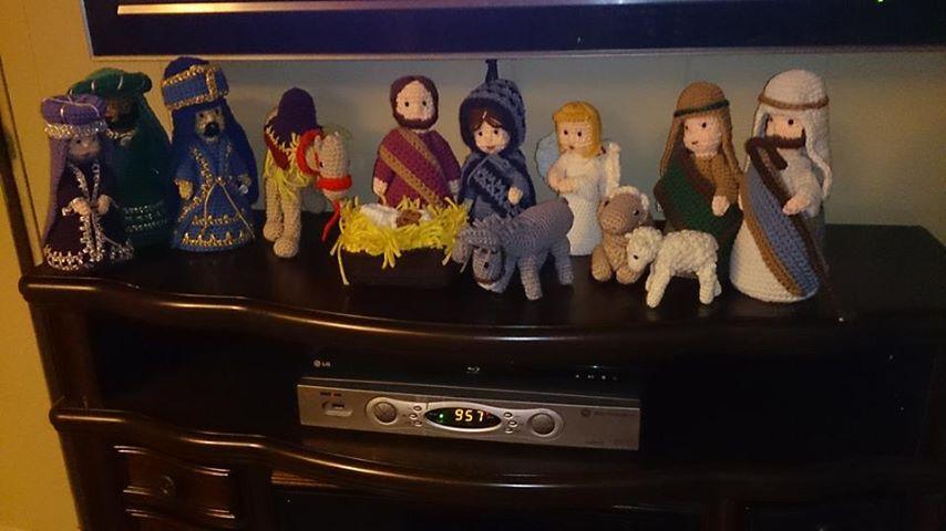 Nativity set on my electric fireplace! | Crochet Favorites | Pinterest