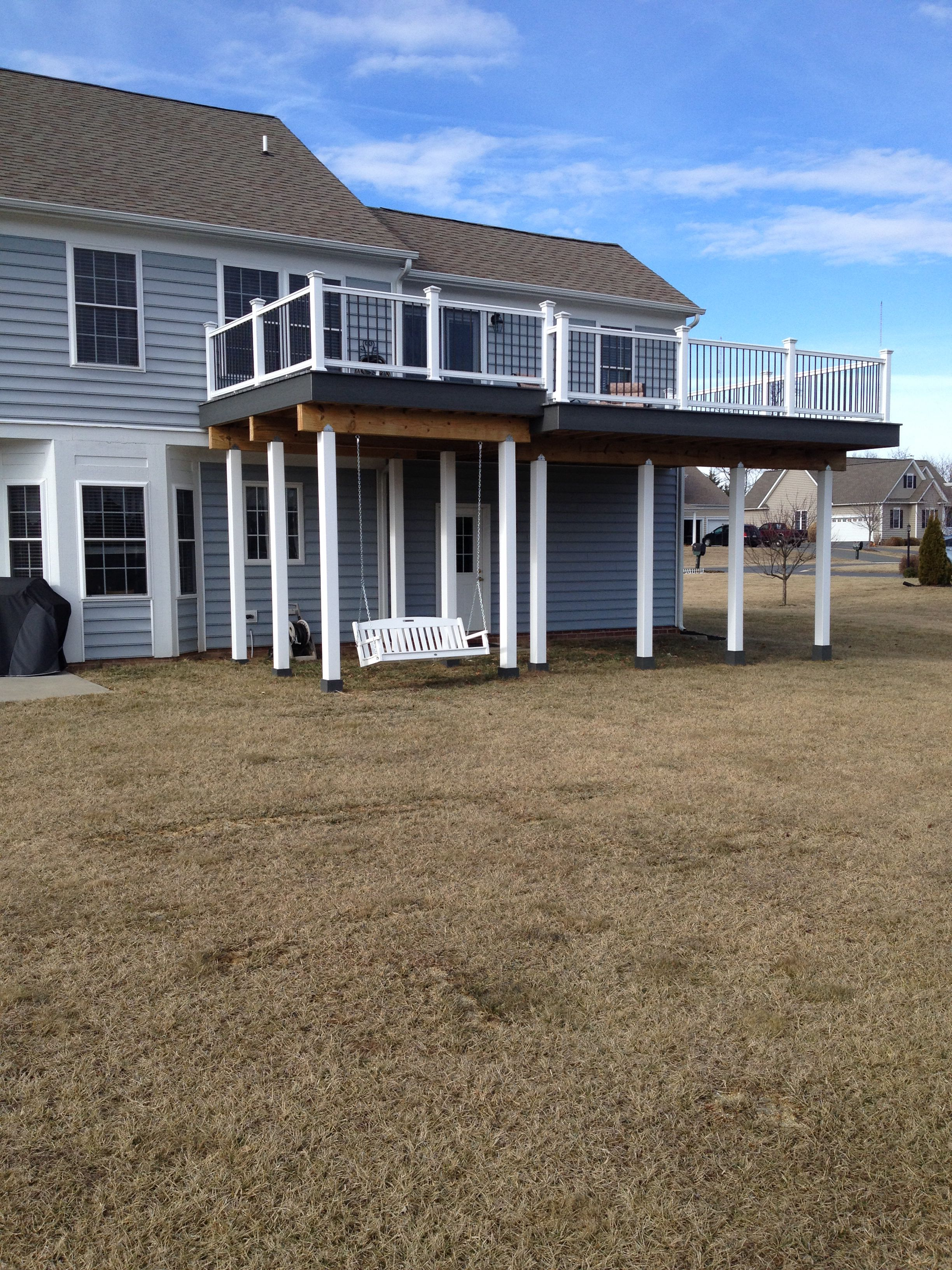 Second story deck with porch swing for the home pinterest for 2 story deck