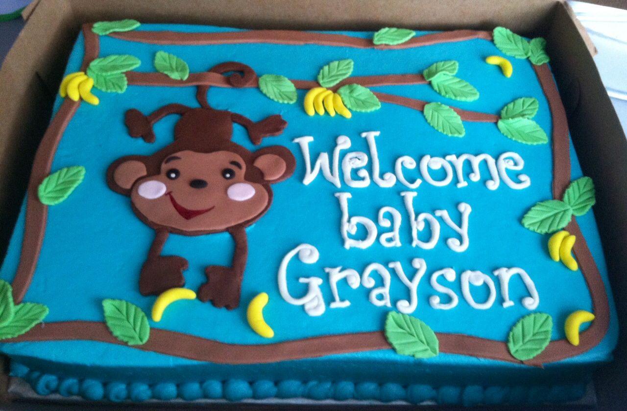 Monkey baby shower cake cake decorating baby boys pinterest - Monkey baby shower cakes for boys ...