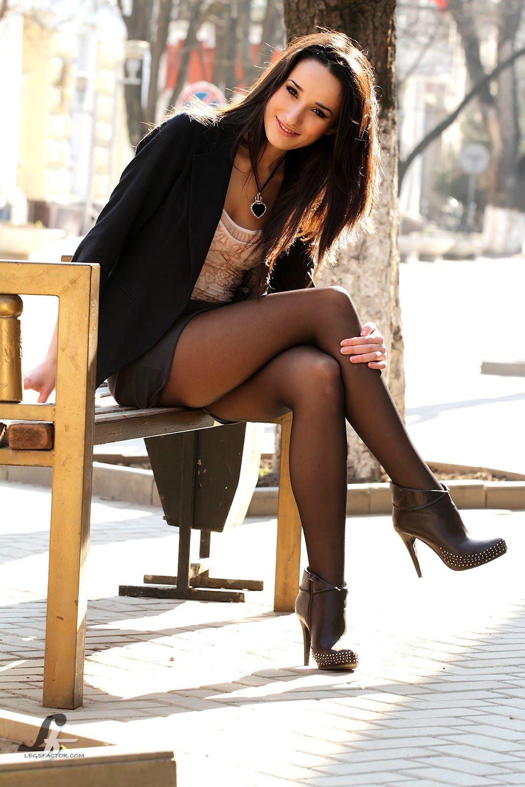 Teen glamour babe Melena A modeling in over the knee socks and high heels № 1684940 бесплатно