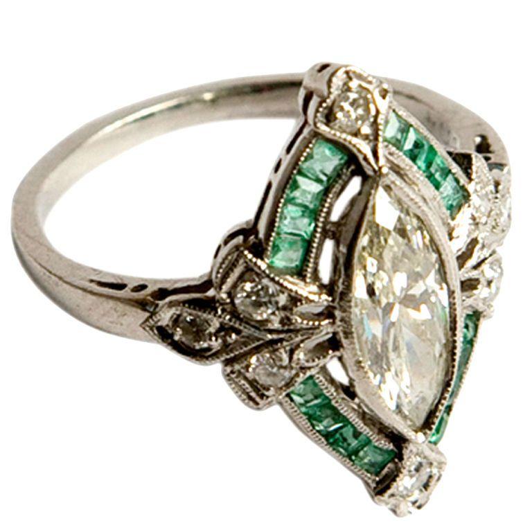 Vintage art deco emerald ring