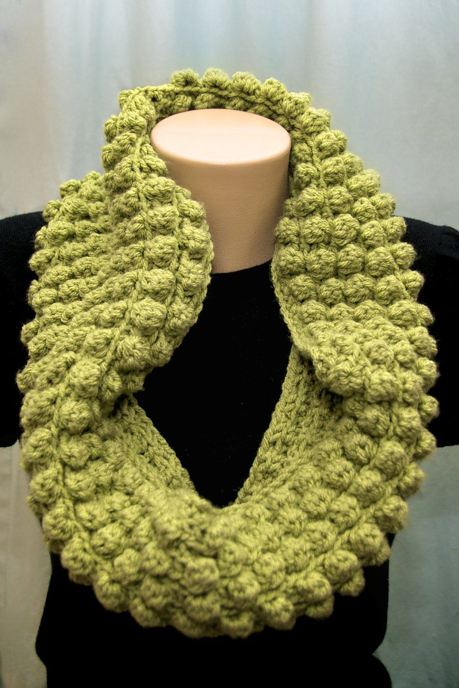 Green Crocheted Bobble Stitch Cowl Crochet Pinterest