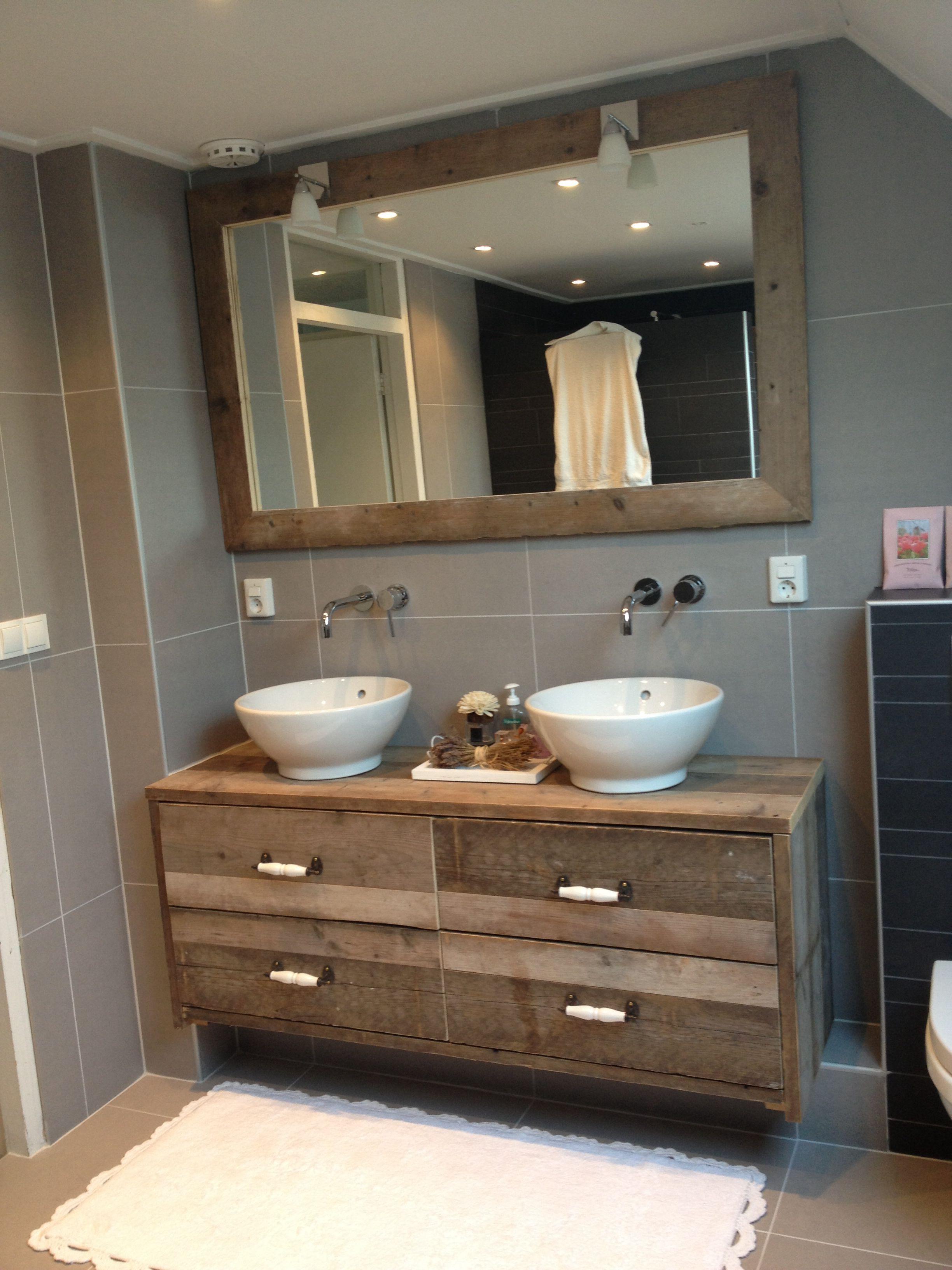 Badkamer Ideeen : Badmeubel van steigerhout! My home ️ badkamer ...