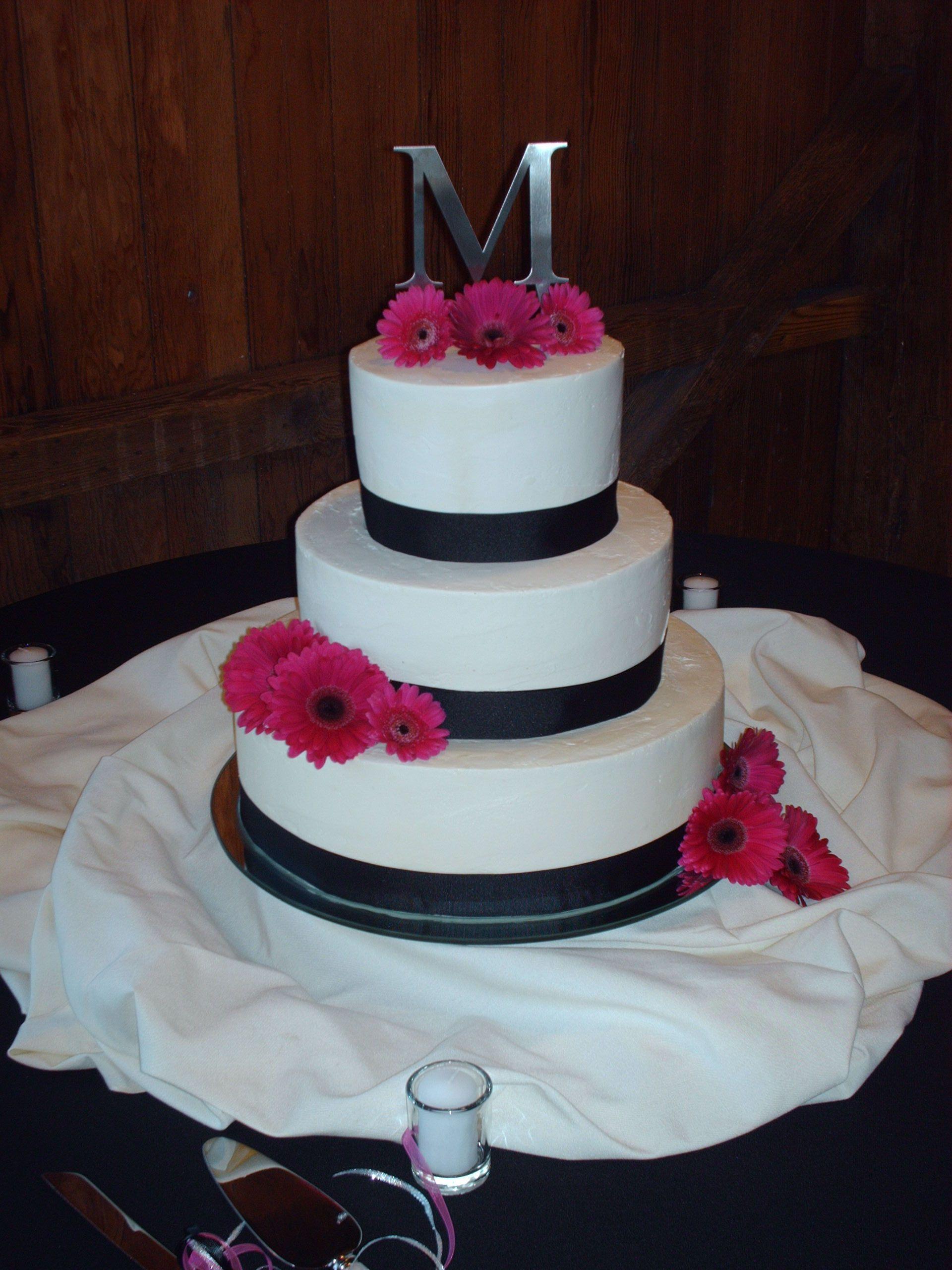 Black and Hot Pink Wedding Cake Wedding Ideas