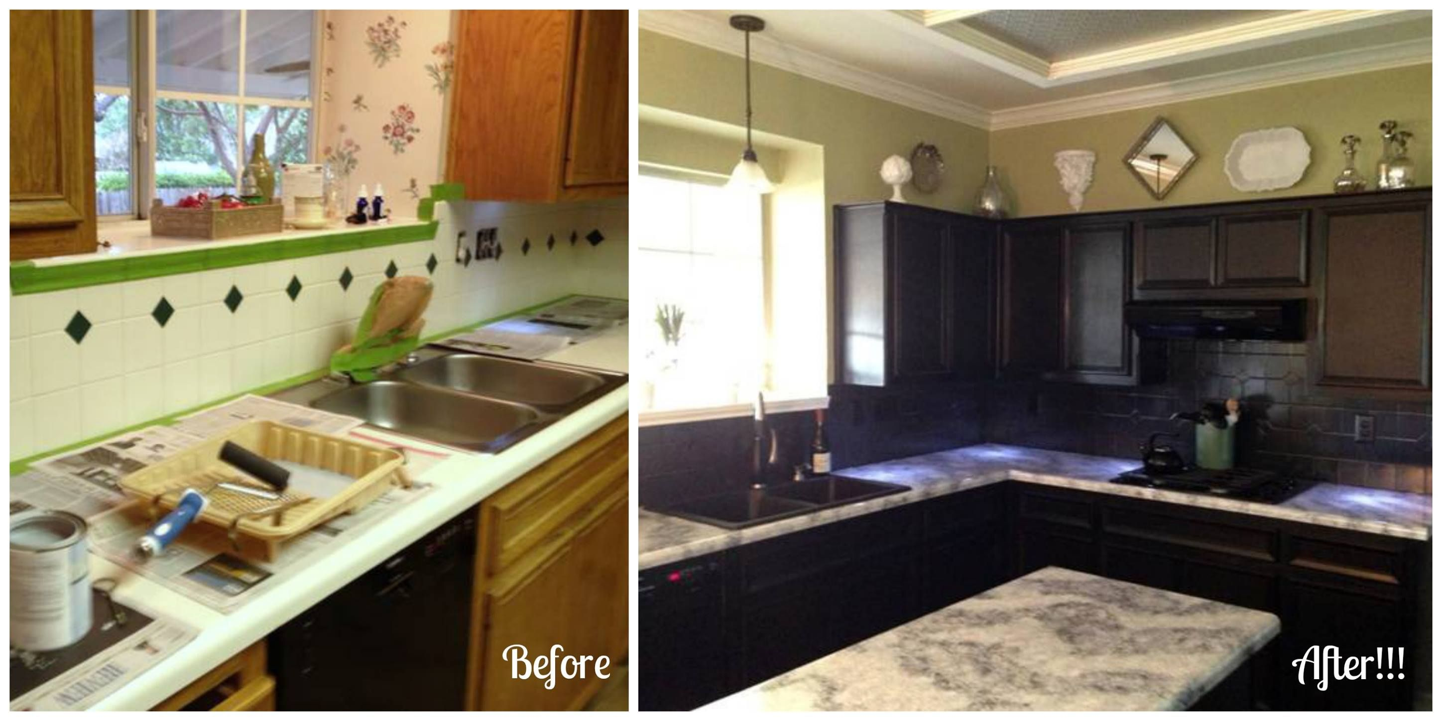 Countertop Paint Before And After : Dramatic Before and After using the Giani White Diamond Kit and the ...