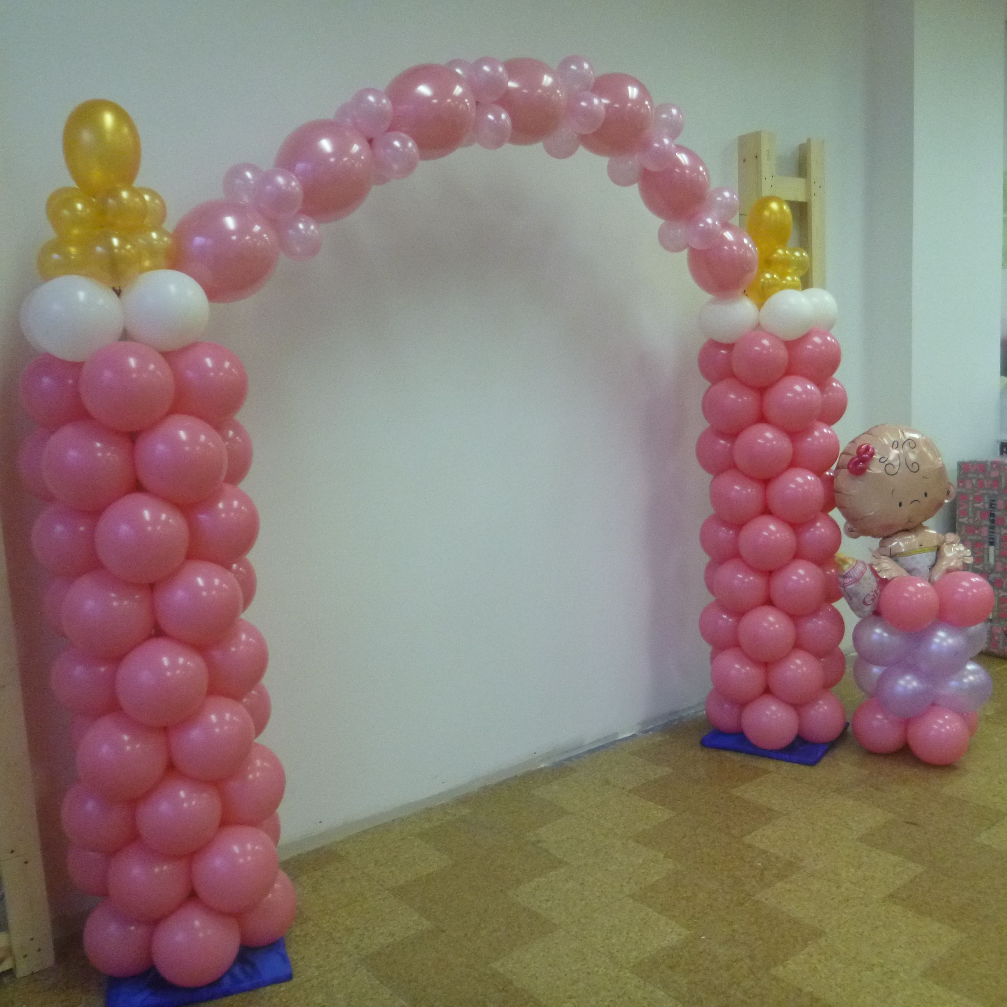 Rosielloons baby shower balloons decor pinterest for Balloon decoration for a baby shower