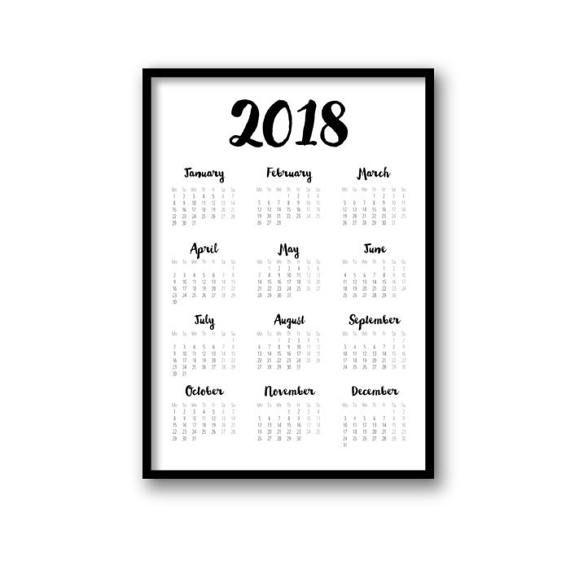 2018 Calendar, Printable Calendar, Black & White Calendar 2018 ...