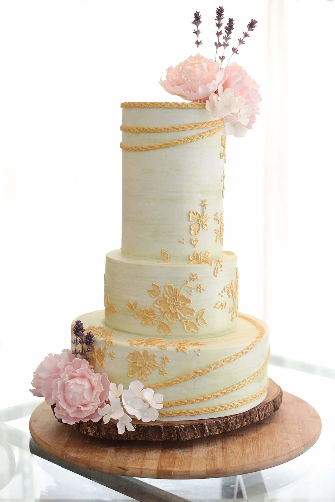 mint pink and gold rustic wedding cake