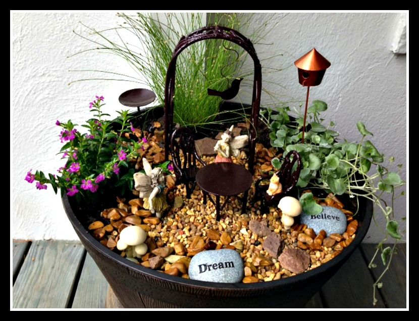 Fairy garden in a container landscaping pinterest for How to make a fairy garden container