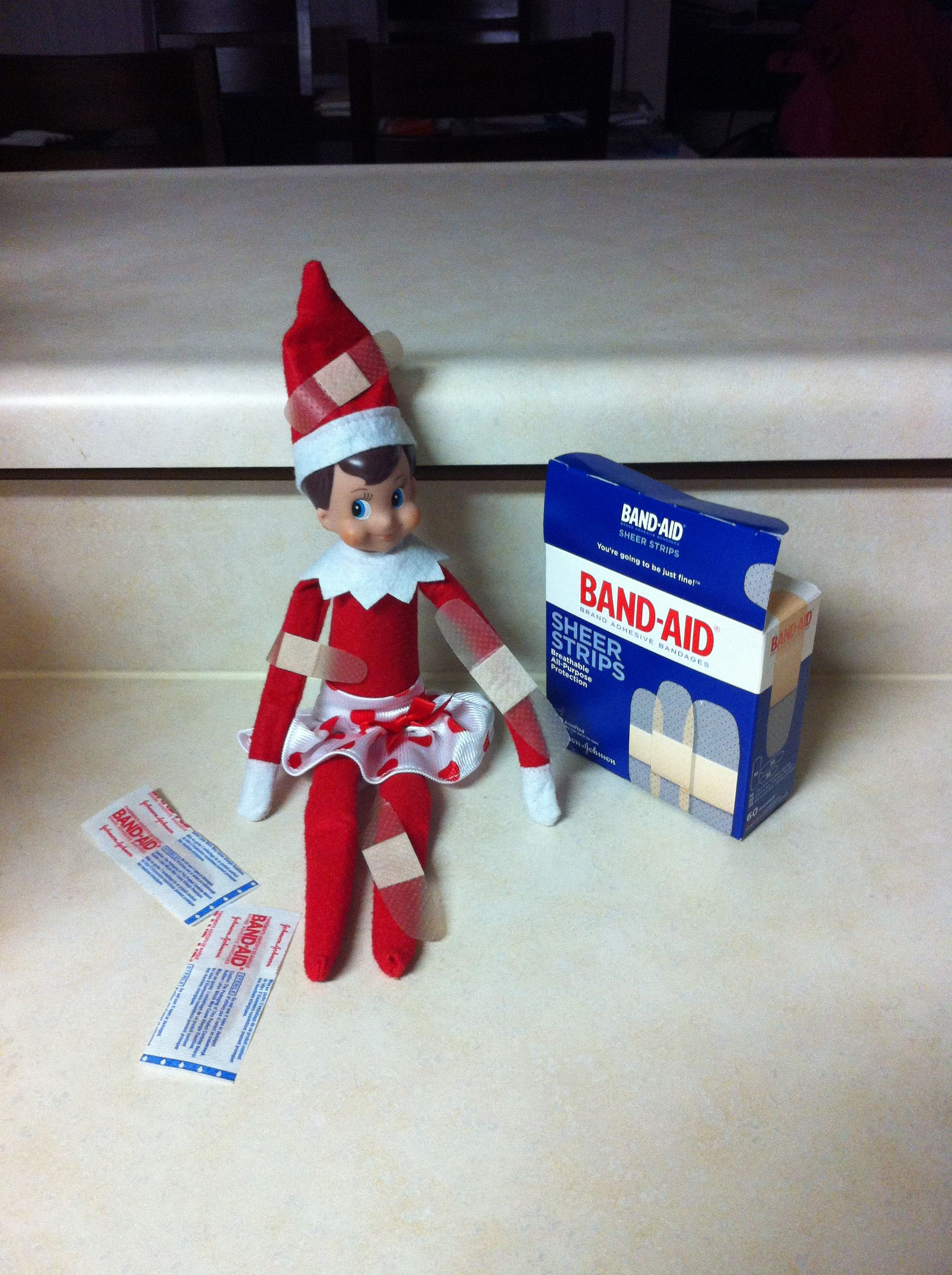 Elf got into the band aids! | Elf on shelf & other Christmas ideas ...