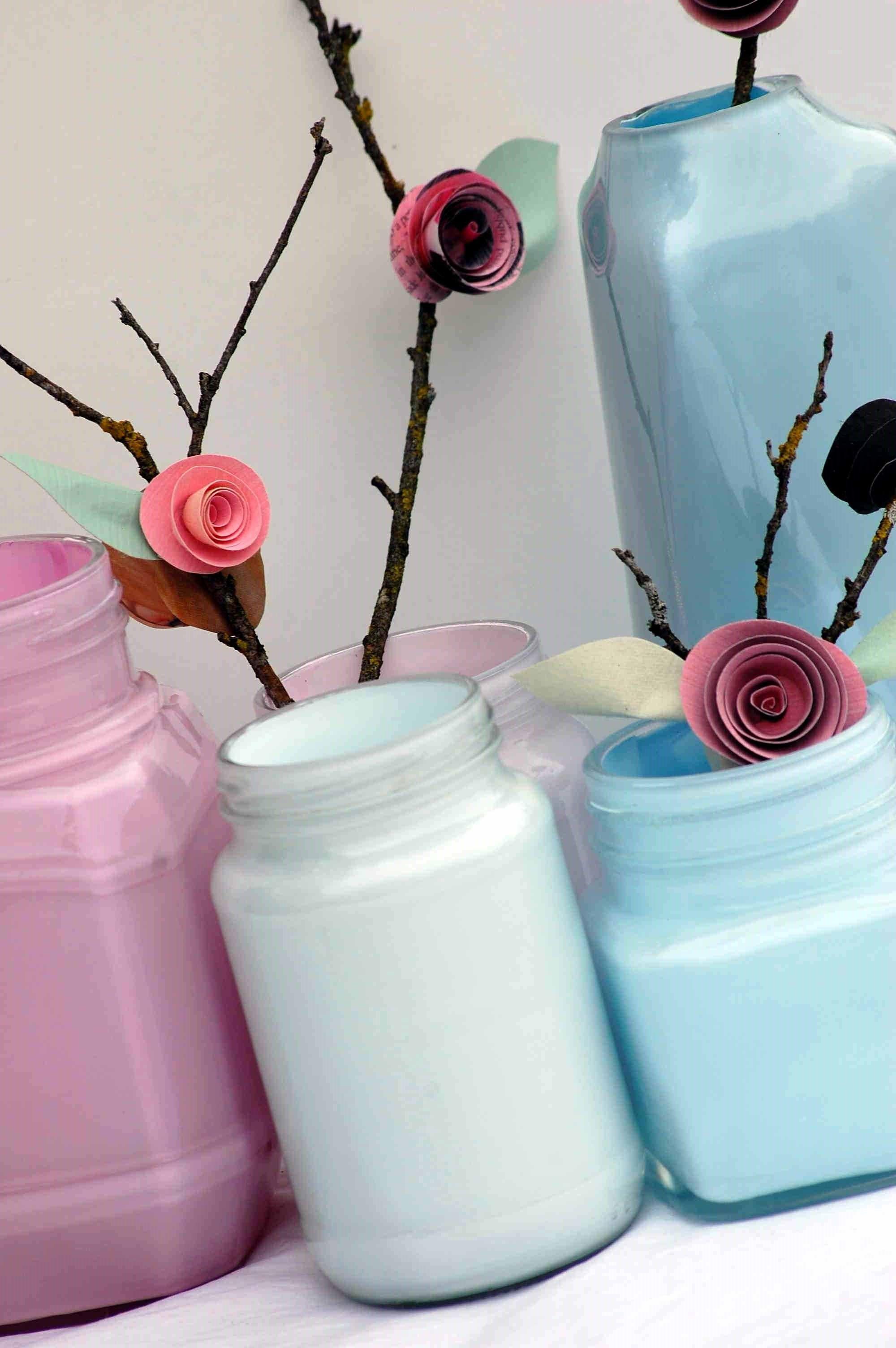 Painted Bottles Paper Flowers Creative Revamps Pinterest