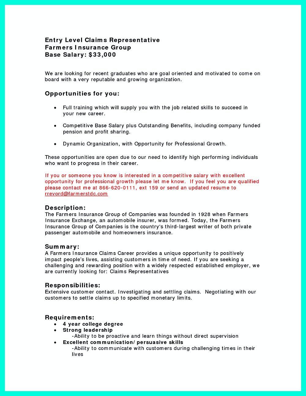 Insurance Agent Resume Job Description