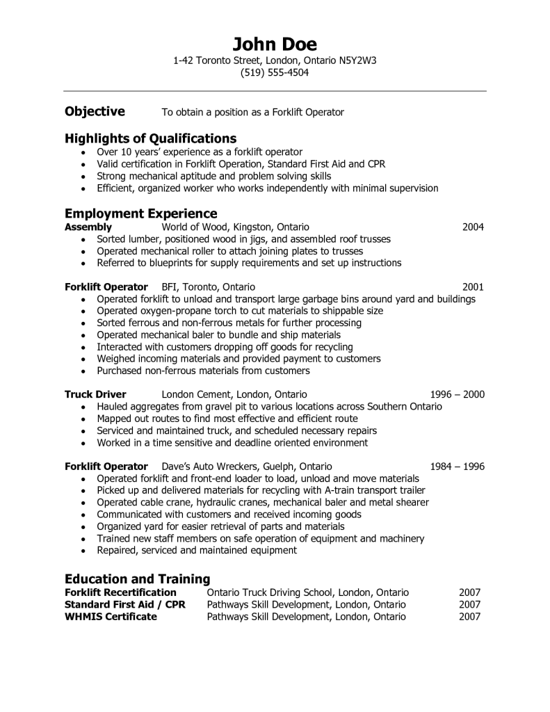 Resume Sample For Factory Worker