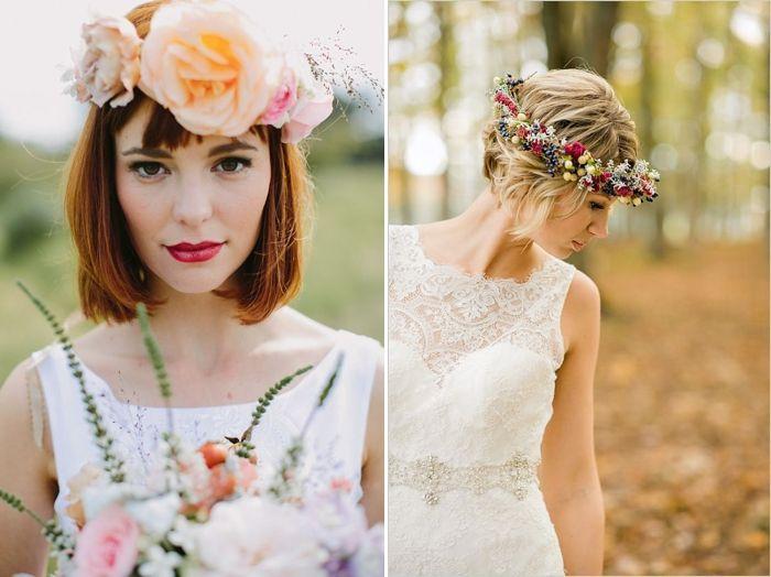 Свадебные прически с короткими волосами и венком