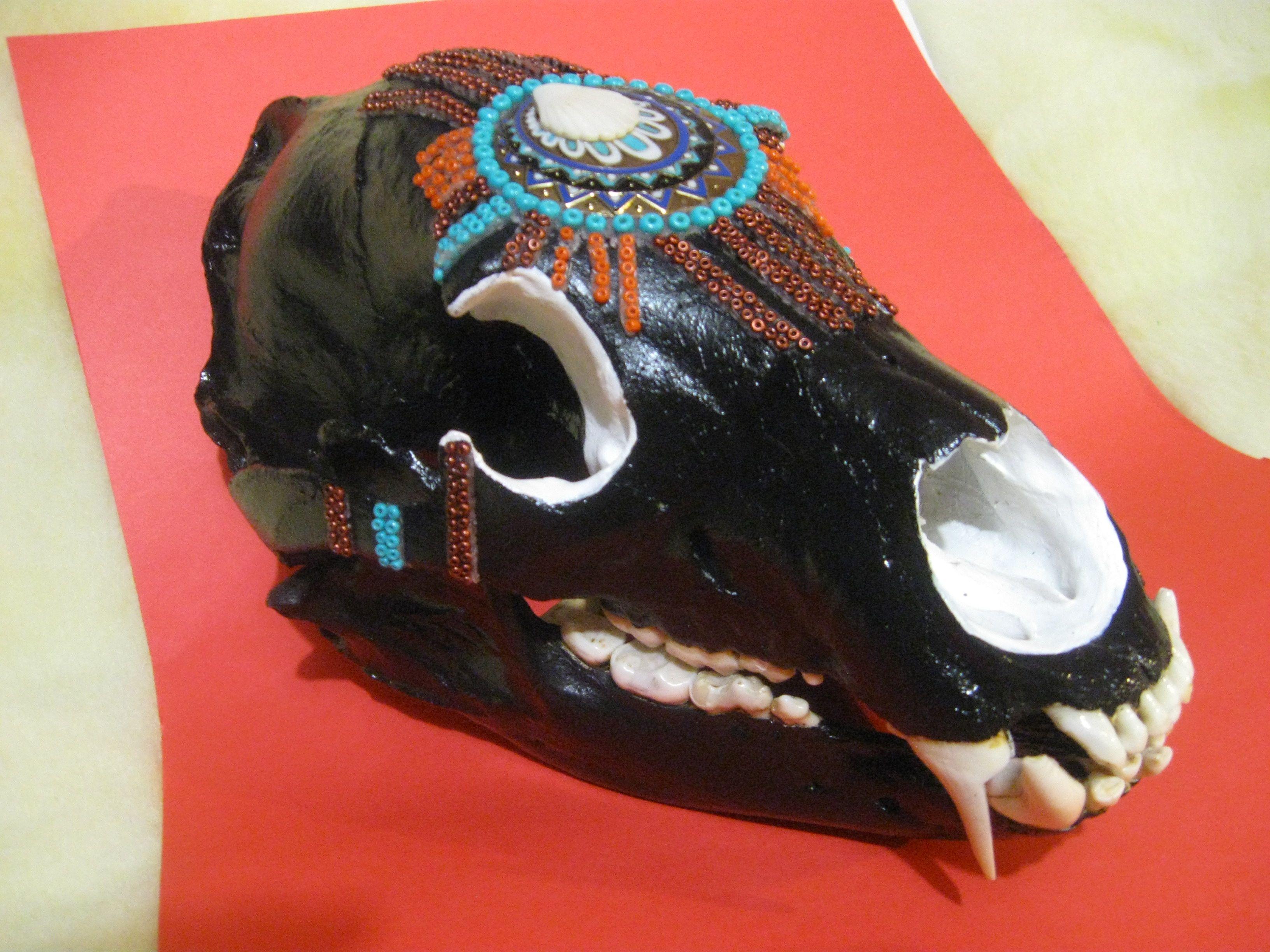Black bear skull painted and beaded decorated skulls pinterest