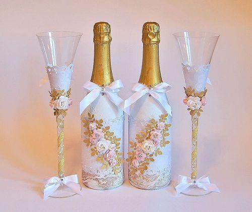 Как сделать свадебные бутылки своими руками мастер класс 670