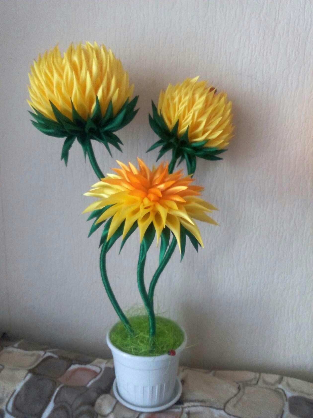 Цветы в горшках своими руками из атласных лент своими руками