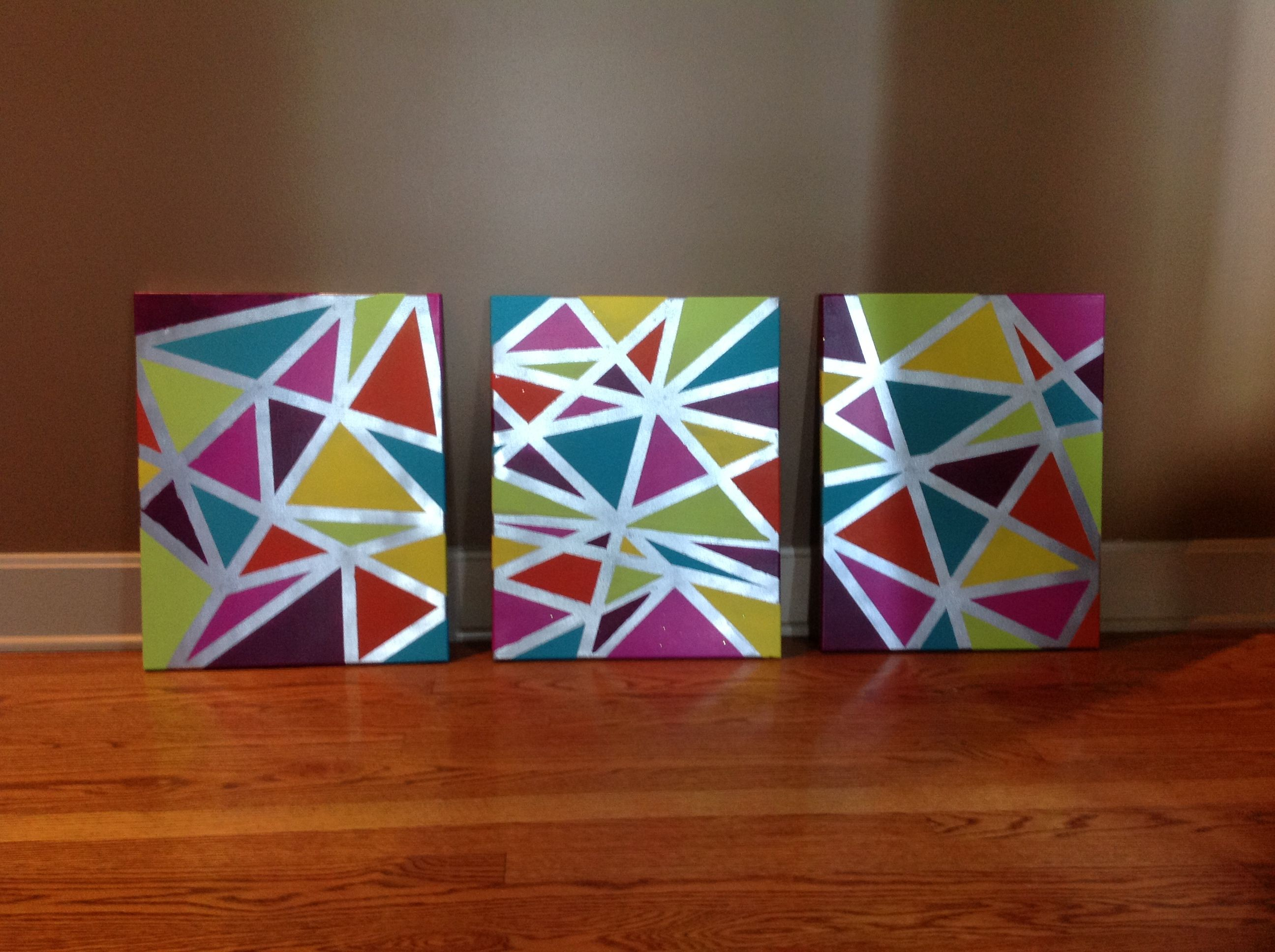 Canvas tape and paint waalla feeling crafty pinterest for Tape painting on canvas