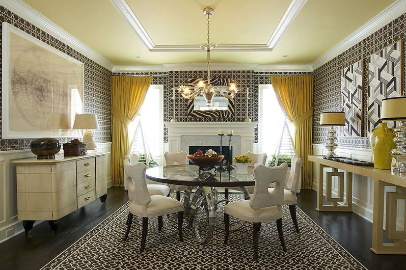 Dining room yellow pinterest for Yellow dining room ideas