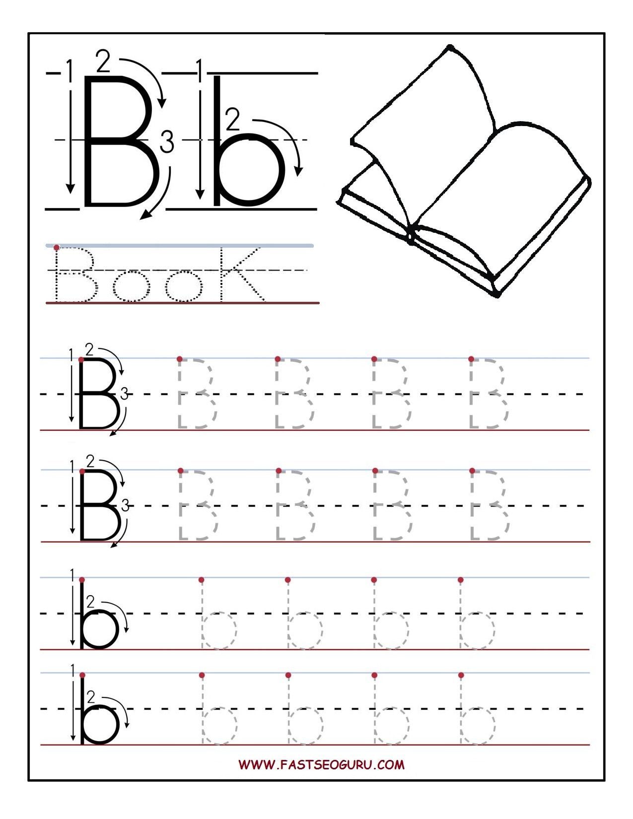 The letter a tracing worksheets for preschool - Letter B Worksheets For Preschoolers Printable Letter B Tracing