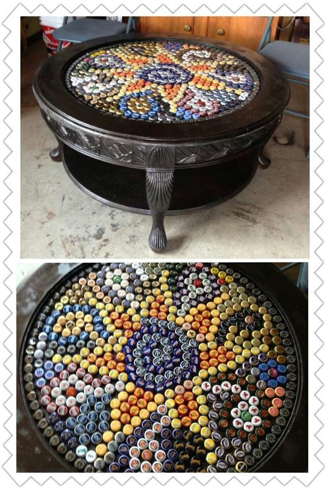 bottle cap table that is just amazing be an awesome. Black Bedroom Furniture Sets. Home Design Ideas