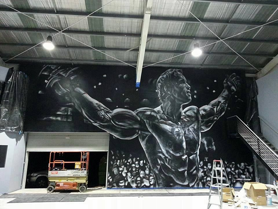 Awesome inspirational mural in a gym fitness for Mural inspiration