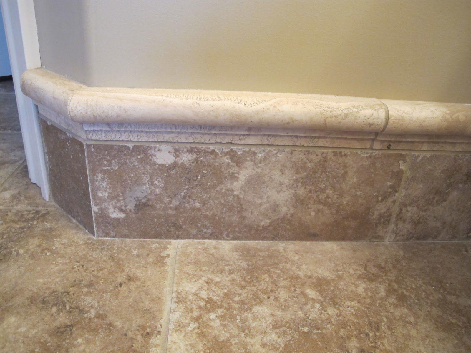 Tile baseboard jobs for j pinterest for Baseboard ideas for bathroom