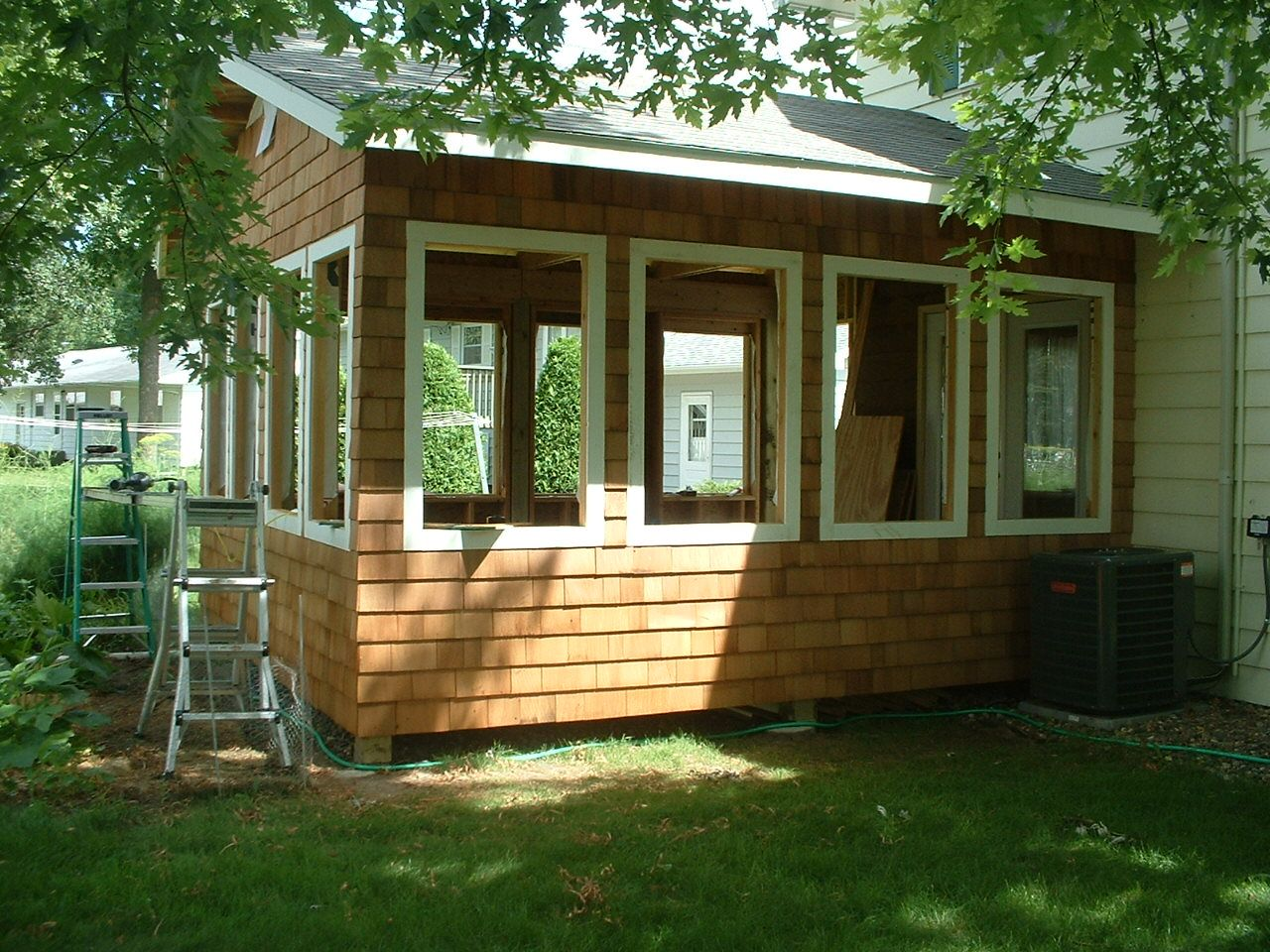 Shake Shingle Sided Three Season Room Screen Porch