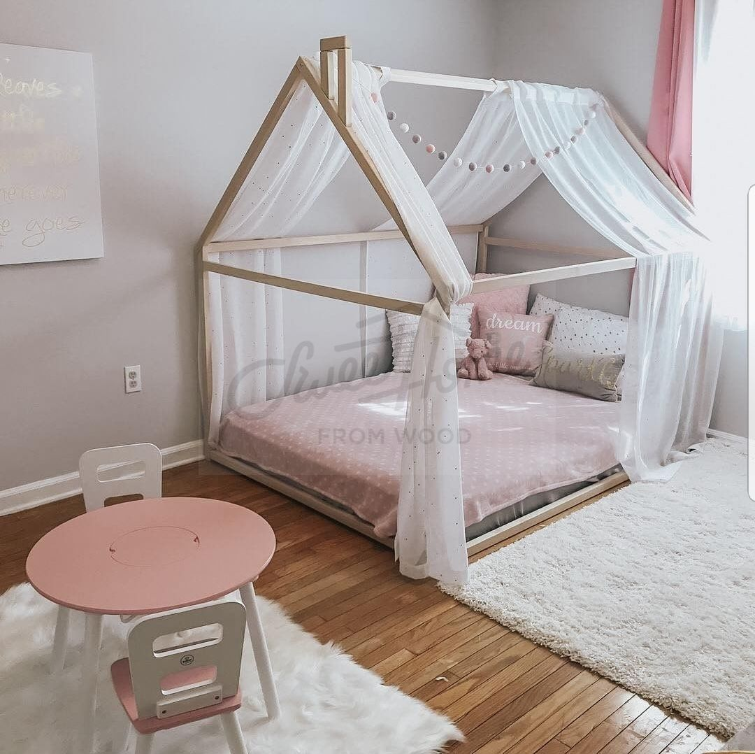 Wood Bed Full Double Toddler Bed Frame Tent Bed Wooden House Bed Frame Wood Nursery Bed