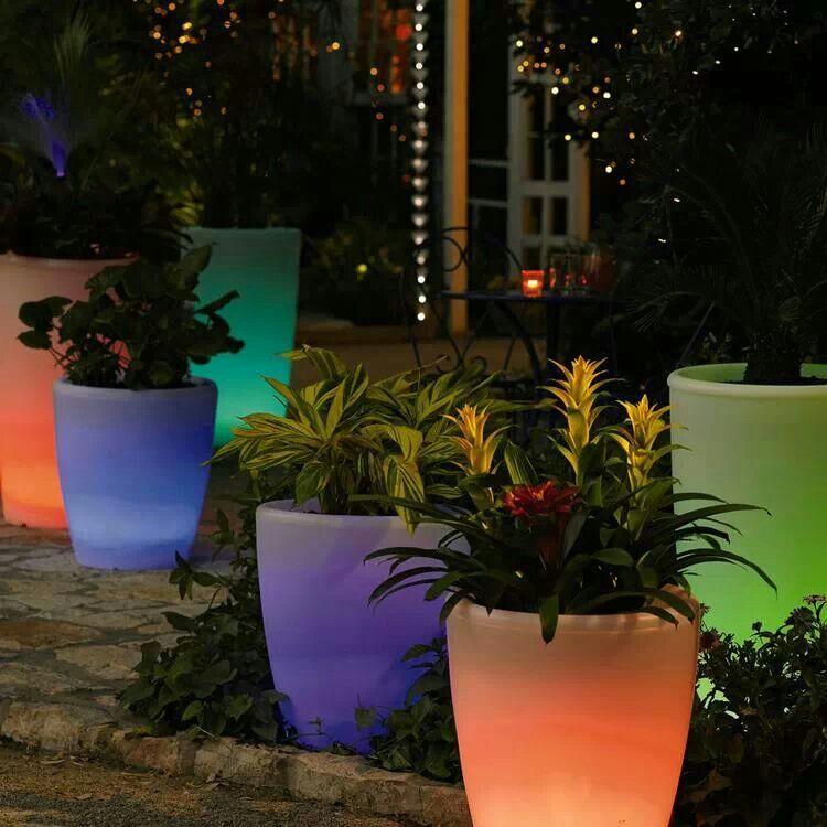 glowing flower pots my garden pinterest