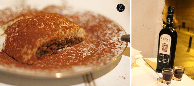 Tiramisú y licor de mirto en Aiò - restaurante pizzeria italiano sardo Malasaña Madrid