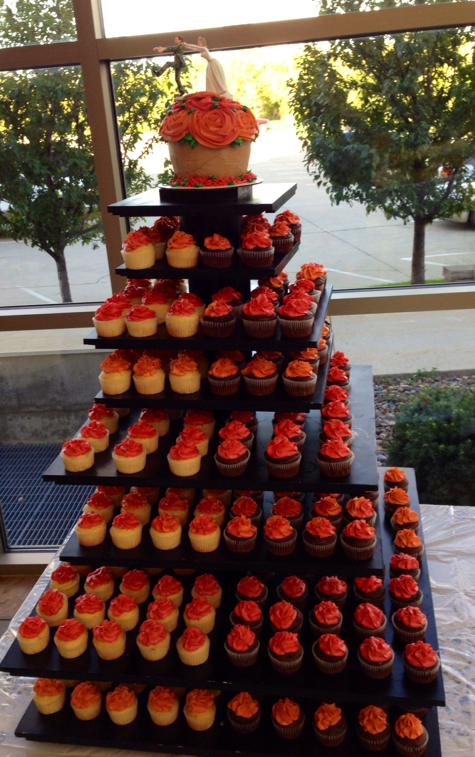 Fall wedding cupcake stand cake