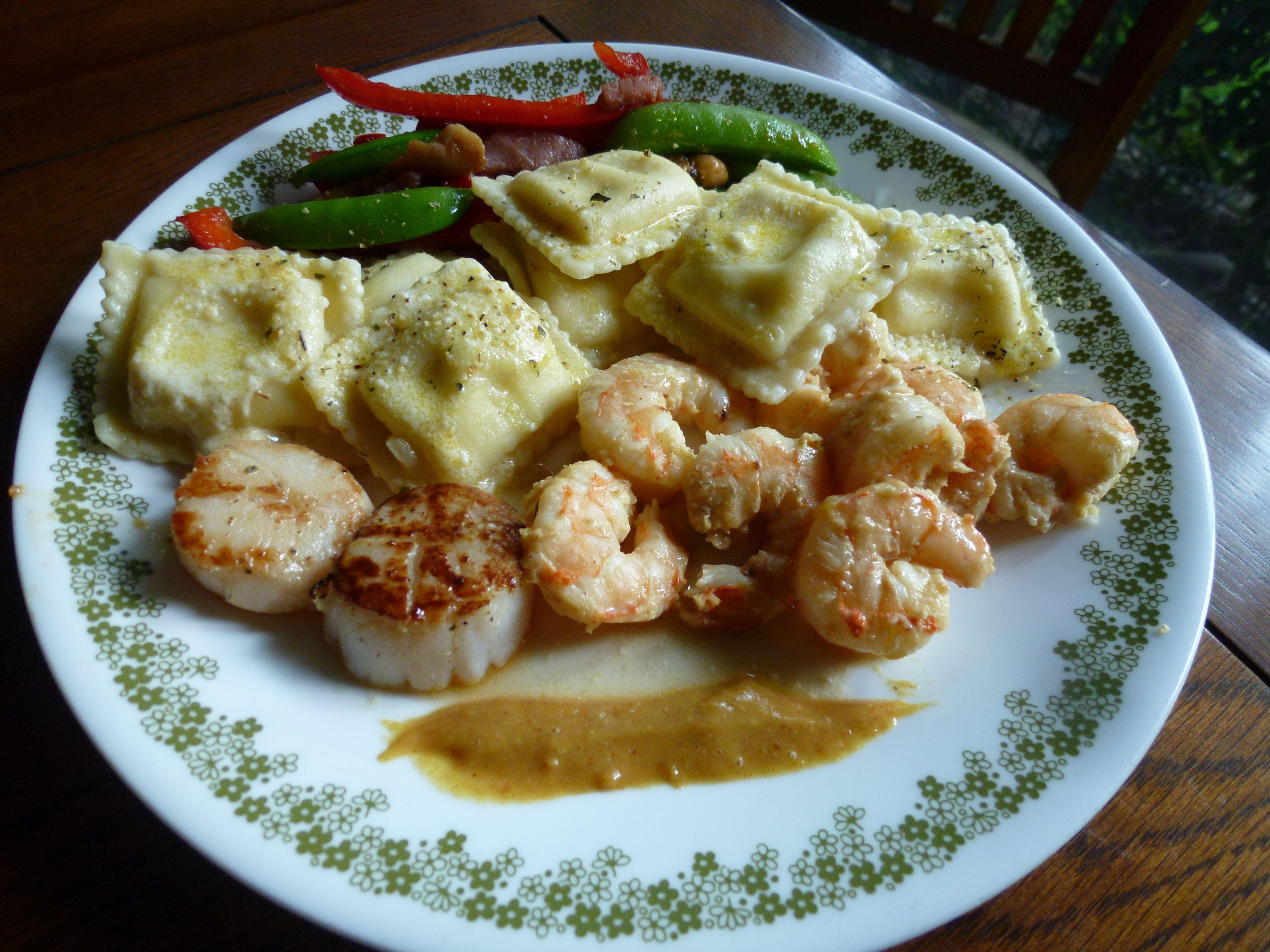shrimp, seared scallops, cheese ravioli and sauteed sugar snap peas ...