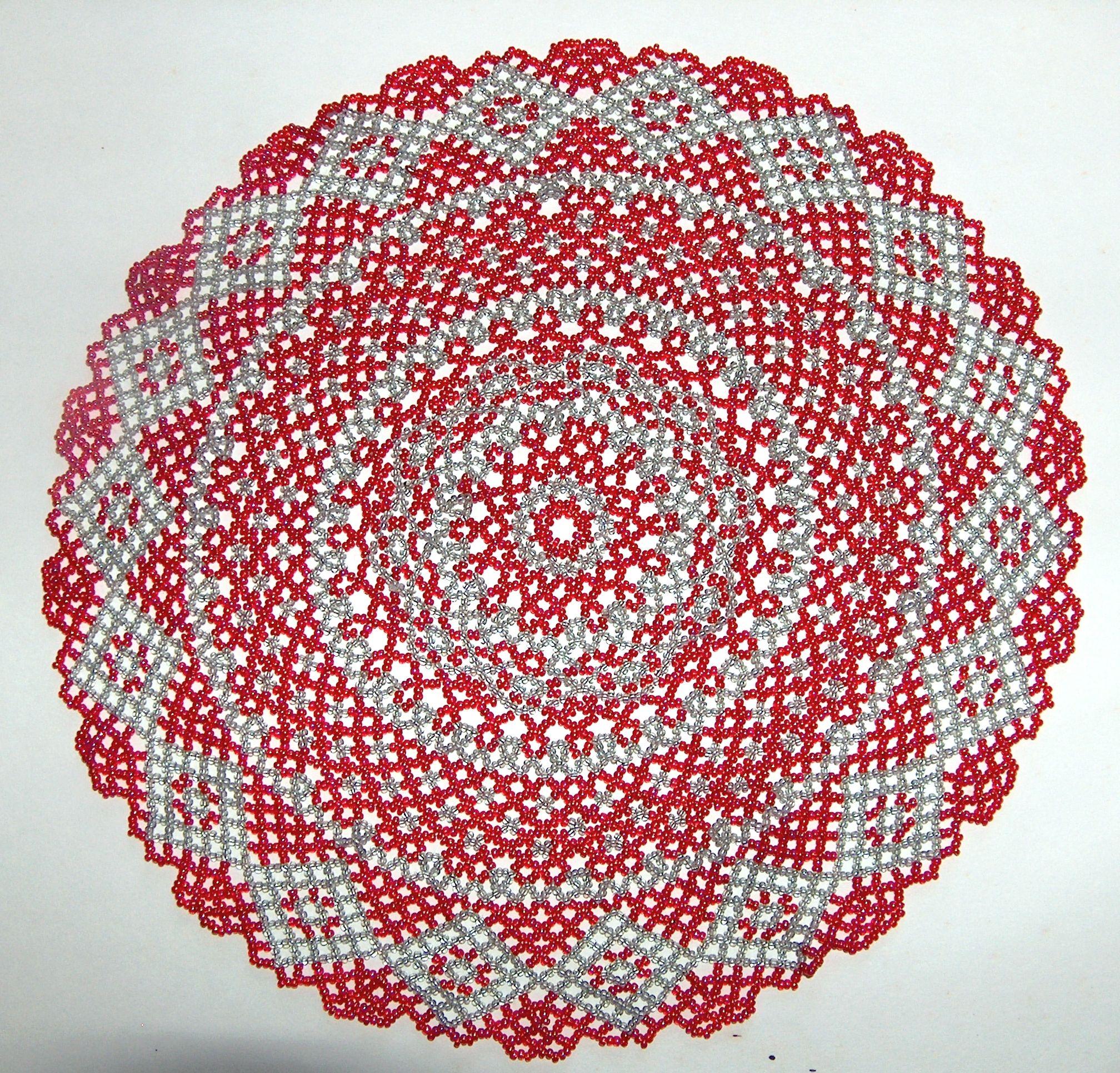 Round beaded doily - red/grey. USD100 CROCHET DOILIES ...