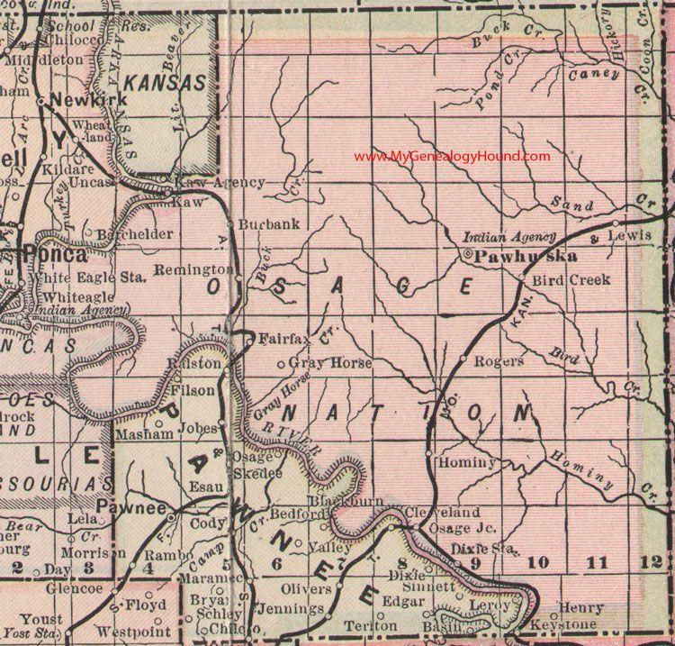 Osage Nation Indian Territory 1905 Map Pawhuska Bird