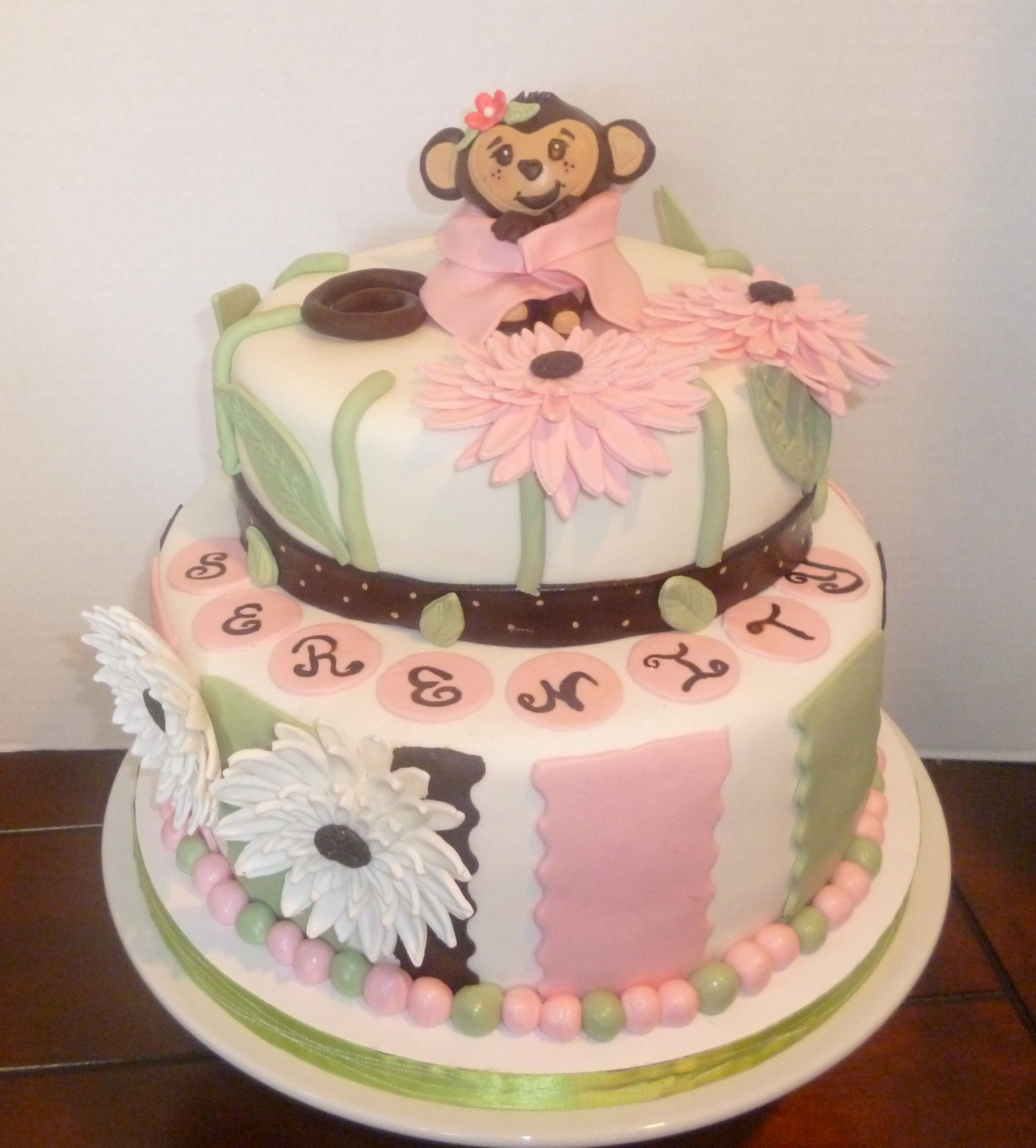 Baby girl monkey themed baby shower cake cakes pinterest - Baby shower monkey theme cakes ...