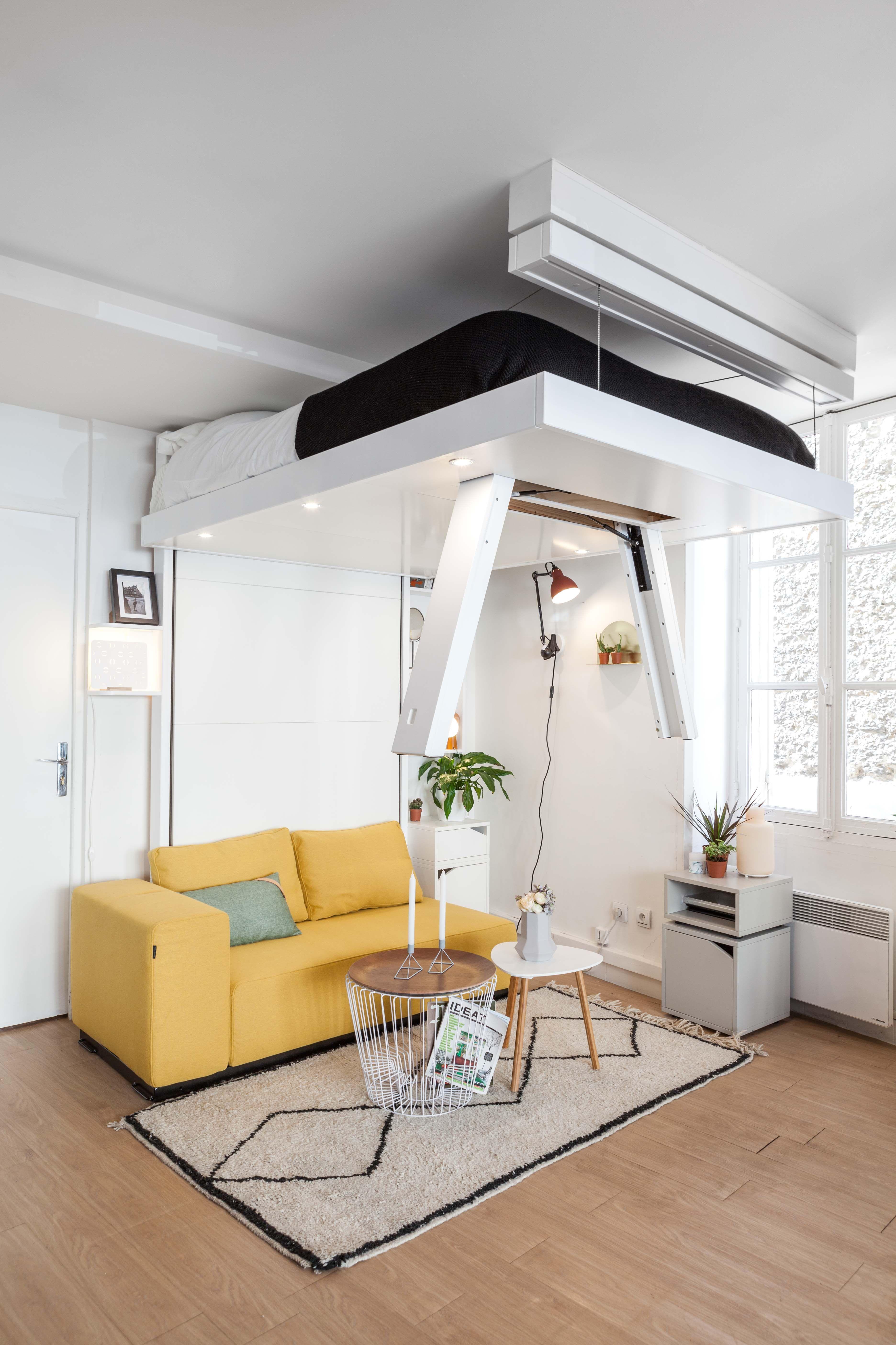 good bedup est un lit escamotable qui se range au plafond pratique et design il permet de. Black Bedroom Furniture Sets. Home Design Ideas