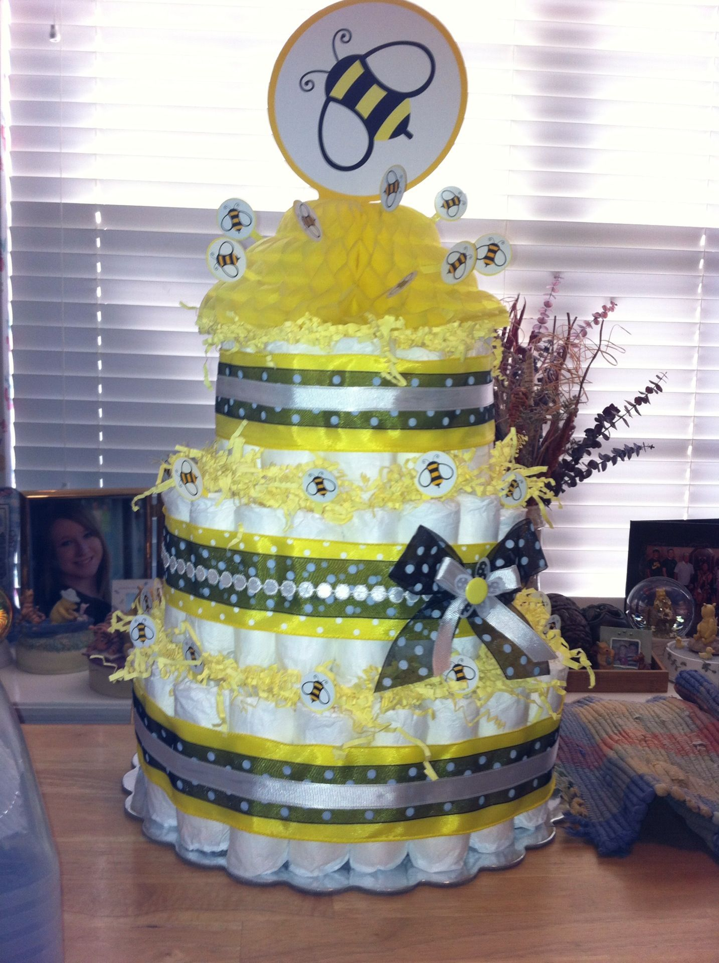 bee themed baby shower diaper cake baby shower time pinterest