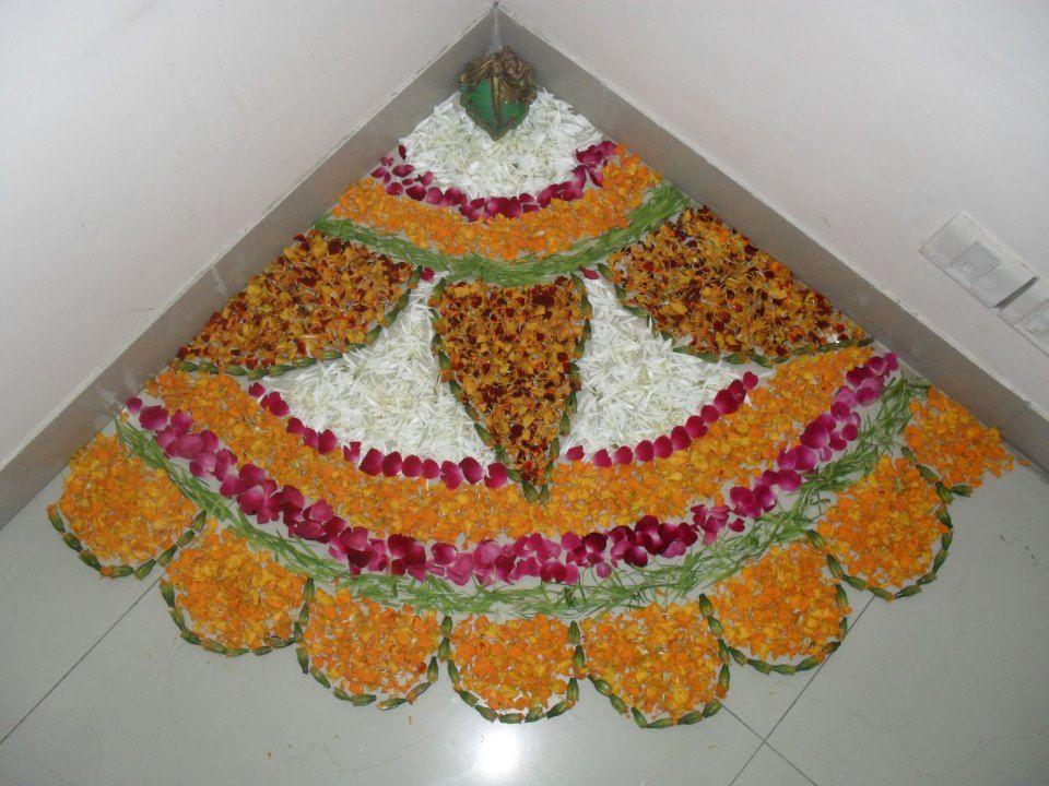 Diy rangoli with flower petals rangoli pinterest for Home made rangoli designs