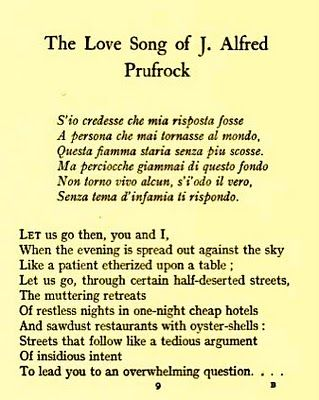 a review of j alfred prufrock poem love song Lovesong of j alfred prufrock  the love song of j alfred prufrock,  t s eliot reads the love song of j alfred prufrock most influential poem.
