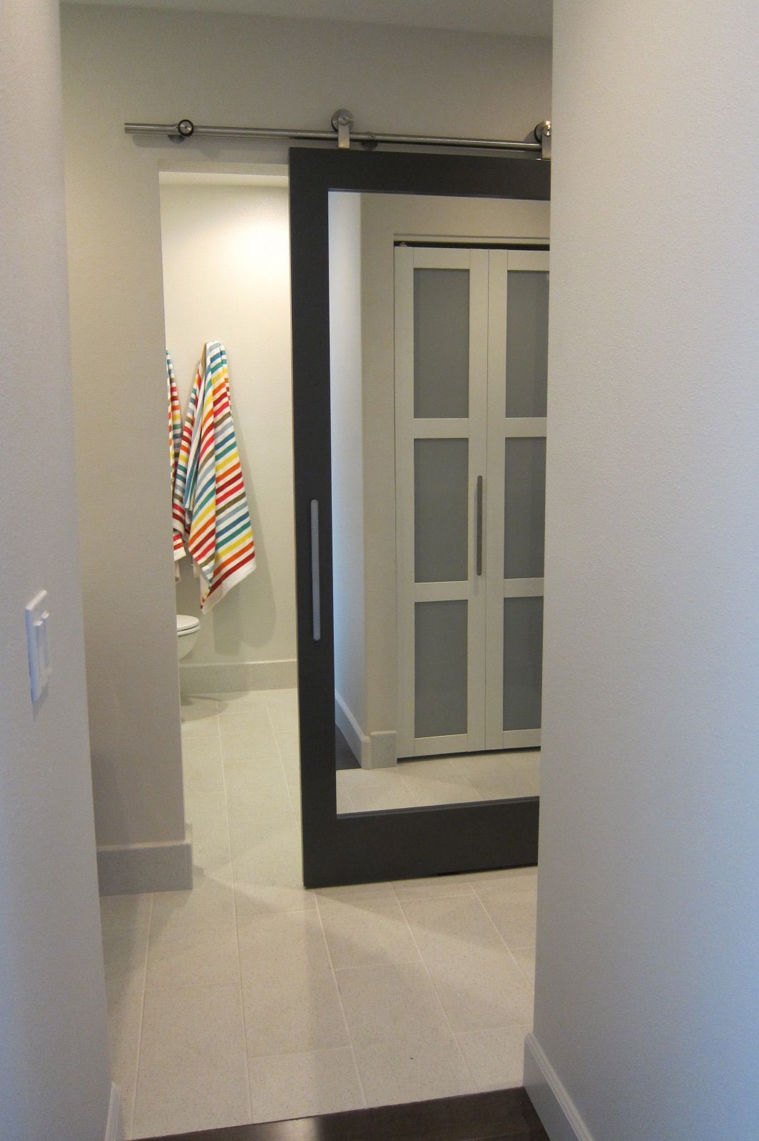sliding bathroom door with mirror for the home pinterest. Black Bedroom Furniture Sets. Home Design Ideas