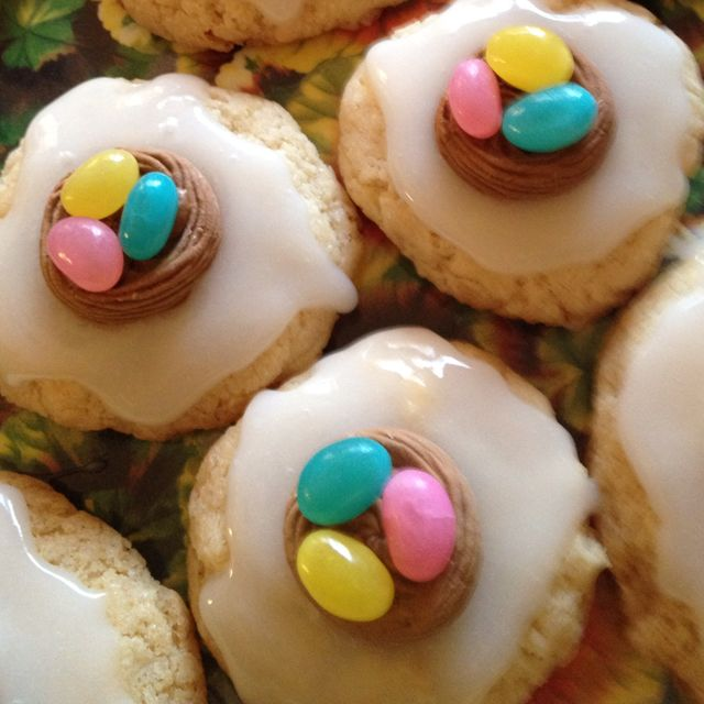 Vegan frosted sugar cookies with jellybean nests..adorable for easter ...