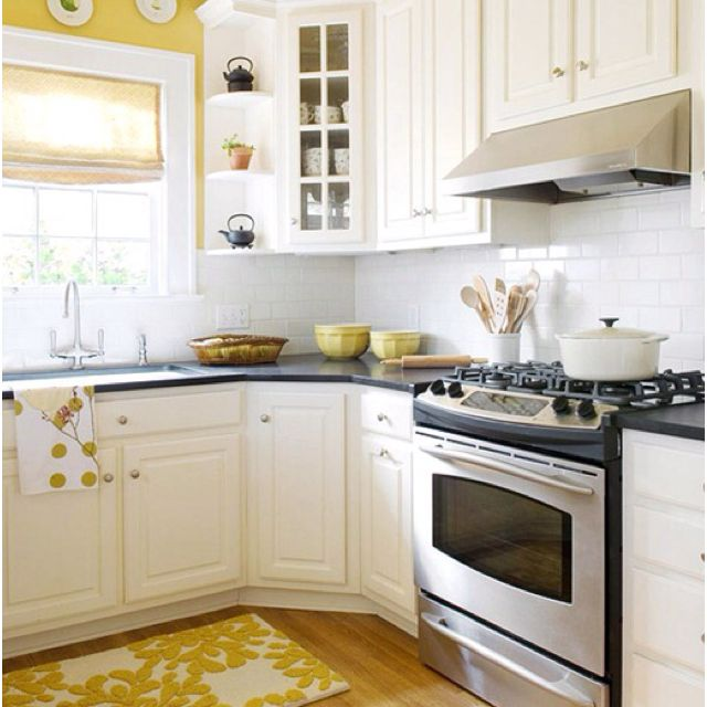 yellow walls white cabinets kitchen ideas pinterest
