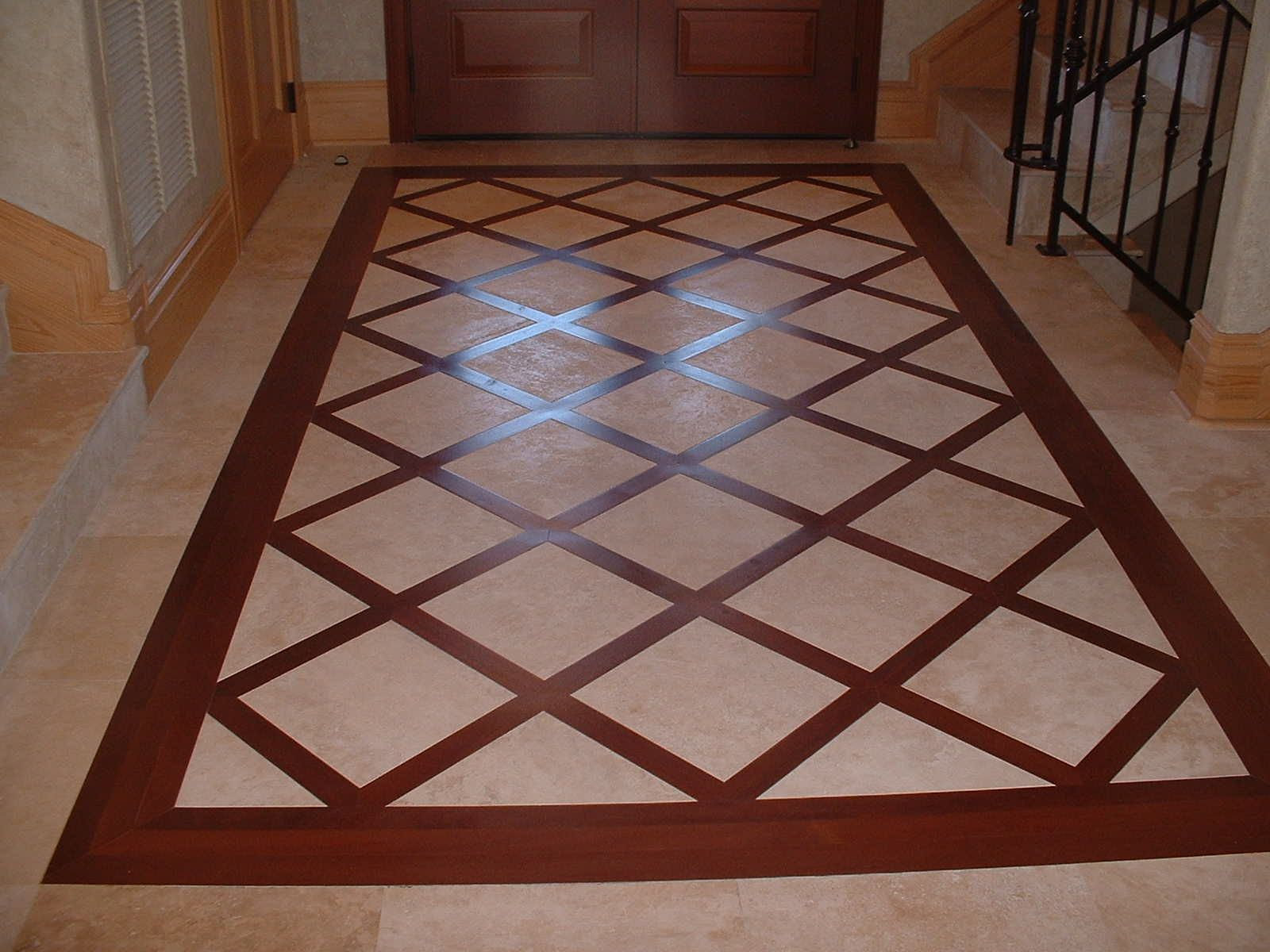 More wood and tile mix floor pinterest for Wood floor medallions inlay designs