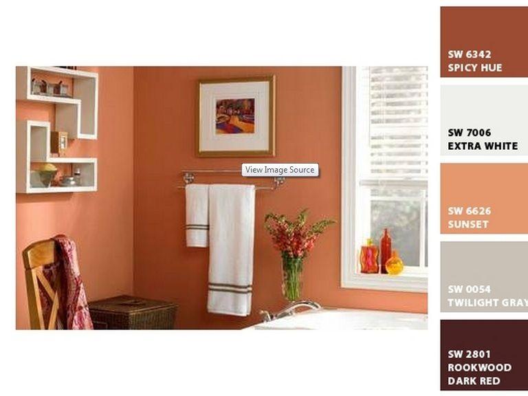 Peach walls home bathroom pinterest for Peach colored bathroom ideas