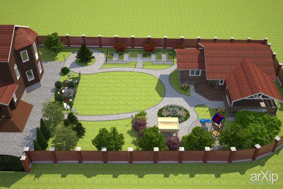Ландшафтный дизайн участка загородного дома 15 соток