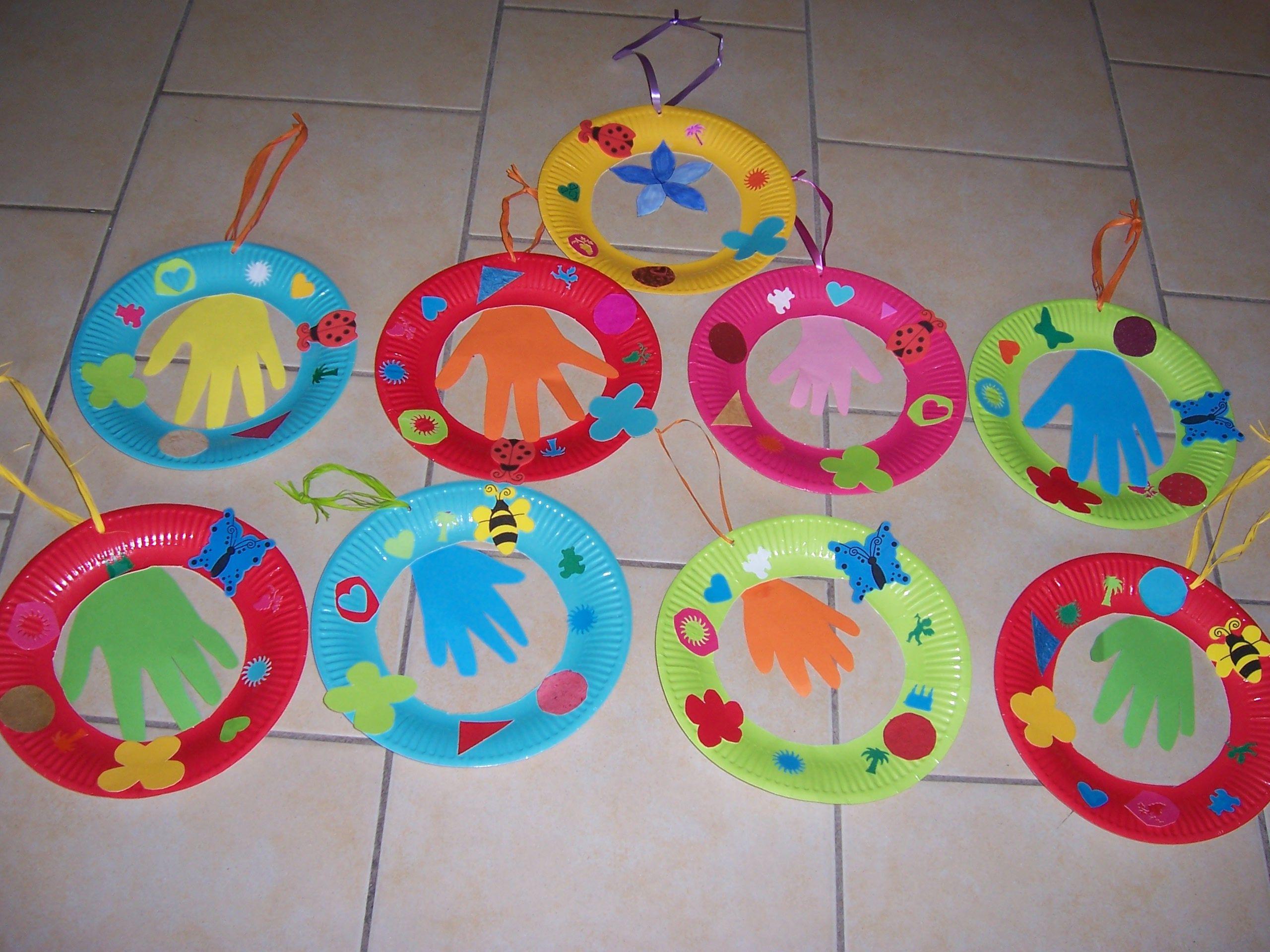 Assiette de printemps bricolage fait a la maison par les enfants - Bricolage de printemps ...