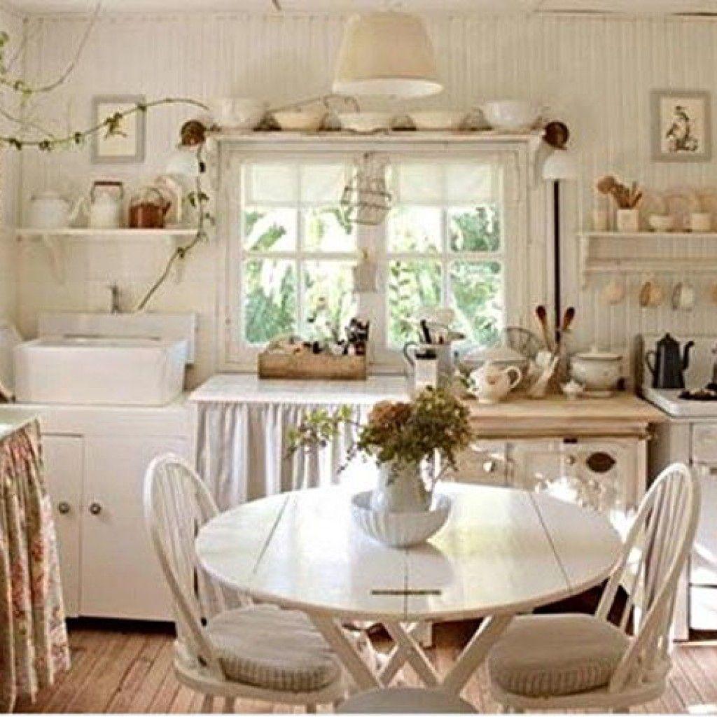 Стиль шебби шик в интерьере кухни фото